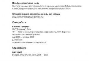 Резюме Орск