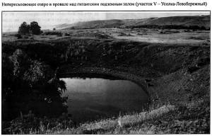 Непересыхающее озеро в провале над гигантским подземным залом (участок V - Усолка-Левобережный)